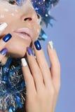 Nya år manikyr och makeup Fotografering för Bildbyråer