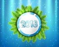 2018 nya år med blått- och vitcirklar och trädfilialer på belysningbakgrund också vektor för coreldrawillustration Royaltyfri Foto