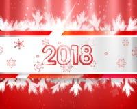 2018 nya år med julträdfilialer och snöflingor på röd bakgrund Denna är den redigerbara vektorillustrationen Royaltyfri Bild