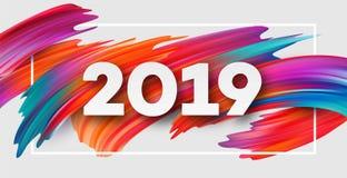 2019 nya år på bakgrunden av en färgrik beståndsdel för design för penseldragolja- eller akrylmålarfärg också vektor för coreldra stock illustrationer