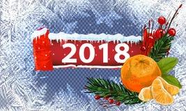 2018 nya år på frostad bakgrund för is Globalt färgar En redigerbar lutning används för lätt recolor Royaltyfri Fotografi