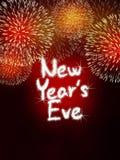 Nya år rött parti för beröm för helgdagsaftonårsdagfyrverkeri Arkivbild