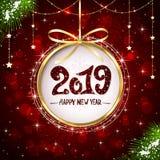 Nya år som hälsar 2019 på röd skinande bakgrund royaltyfri illustrationer