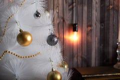 Nya år stilleben med stearinljus arkivfoton
