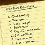 Nya år upplösningar Arkivbild
