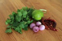 Nya örter - mintkaramell eller pepparmint, persilja, torr chili, röd schalottenlök, grön limefrukt för att laga mat thailändskt m royaltyfria bilder