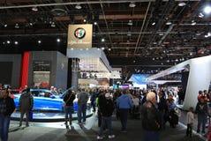 Nya Alfa Romeo medel 2018 på skärm på norden - amerikansk internationell auto show Arkivbild