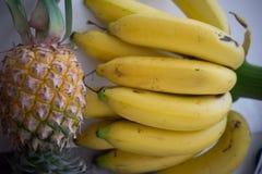 Nya ananas och bananer Royaltyfri Foto