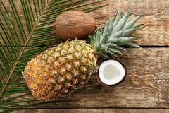Nya ananas och kokosnötter på bakgrund Royaltyfria Bilder