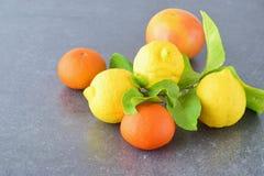 Nya apelsiner, citroner och mandarines på en grå färg gör sammandrag bakgrund Medelhavs- livsstil sund mat Arkivfoton