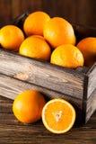 Nya apelsiner i en spjällåda Fotografering för Bildbyråer