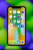 Nya Apple IPhone X Arkivbild
