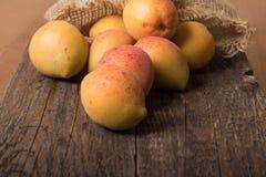 Nya aprikors med bladet Arkivbilder