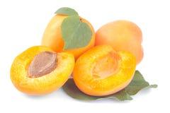 nya aprikors och en halva av aprikons med ett blad på en isolerad vit bakgrund Royaltyfria Bilder