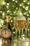 nya år för champagneexponeringsglas Royaltyfri Foto