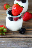 Nya bär i yoghurt royaltyfri bild