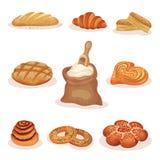 Nya bakade bröd- och bageribakelseprodukter ställer in, släntrar, söta bullar, gifflet, bagelvektorillustration på en vit vektor illustrationer