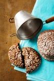 Nya bakade chokladkakor i sockerpulver Royaltyfria Bilder