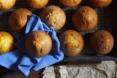 Nya bakelser i bagerit eller de hemlagade kakorna Nya bakelser i en bakplåt Läckra nya hemlagade bananmuffin i en baki Royaltyfri Fotografi