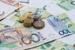 Nya Belorussian pengar Myntar och sedlar bakgrundsbegreppet bantar guld- äggfinans Royaltyfri Fotografi