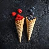 Nya blåbär, hallon, jordgubbar i dillandekottar arkivfoto