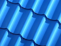 Blått som taklägger från, belägger med metall pläterar royaltyfria foton