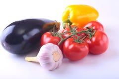 Nya blandade grönsaker aubergine, spansk peppar, tomat, vitlök bakgrund isolerad white Selektivt fokusera Fotografering för Bildbyråer