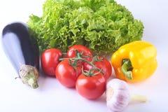 Nya blandade grönsaker, aubergine, spansk peppar, tomat, vitlök med bladgrönsallat bakgrund isolerad white Royaltyfria Bilder