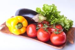 Nya blandade grönsaker, aubergine, spansk peppar, tomat, vitlök med bladgrönsallat bakgrund isolerad white Royaltyfri Foto