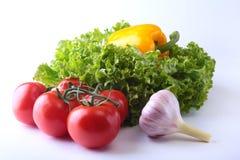 Nya blandade grönsaker spansk peppar, tomat, vitlök med bladgrönsallat bakgrund isolerad white Selektivt fokusera Arkivfoton