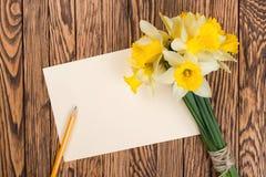 Nya blommor för vårgulingpåskliljor och tömmer etiketten på brunt målade träplankor Selektivt fokusera placera text Royaltyfri Fotografi
