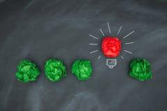 Nya bra idéer, färgrik pappers- boll på svart tavla Royaltyfria Bilder