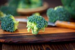 Nya broccoliflorets som blir på köket, stiger ombord som ett träd Arkivbild