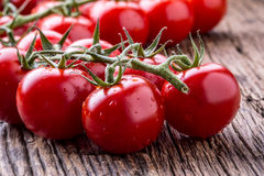 Nya Cherry Tomatoes Mogna tomater på ekträbakgrund Royaltyfria Foton