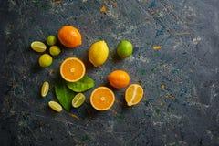 Nya citrurs på mörk bakgrund Apelsiner och limefrukter Top beskådar Arkivbild