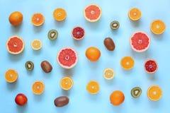 Nya citrusfrukter som delas på turkosbakgrund royaltyfri foto