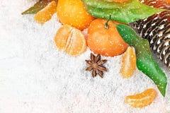 Nya clementines i snö Royaltyfria Bilder