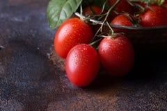 Nya druvatomater med basilika för bruk som matlagningingredienser Arkivbild