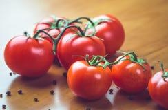 Nya druvatomater med kryddor för bruk som matlagningingredienser äta som är sunt Arkivfoto