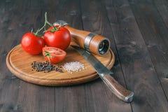 Nya druvatomater och grovt salt för bruk som matlagningingredie Royaltyfri Foto
