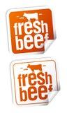 nya etiketter för nötkött Arkivbilder