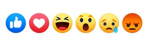 Nya Facebook som Empathetic Emoji f?r knapp 6 reaktioner stock illustrationer