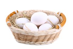 Nya fega ägg i korgen, slut upp royaltyfri foto