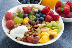 Nya foods för en sund frukost - bär, frukter, muttrar arkivbild