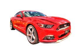 Nya Ford Mustang som 2017 isoleras på en vit bakgrund Royaltyfri Bild