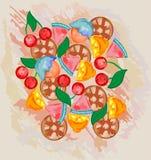 Nya frukter för färgrik bakgrund Vektorsammansättning för diagram och rengöringsdukdesign stock illustrationer
