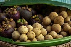 Nya frukter i korg Arkivbild