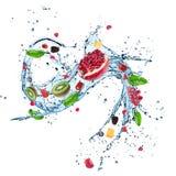 Nya frukter i vattenfärgstänk royaltyfria bilder