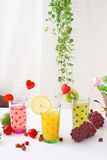 Nya frukter med fruktsaft Fotografering för Bildbyråer