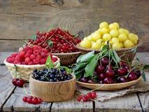 Nya frukter och bär i korgen på träbakgrund royaltyfria bilder
